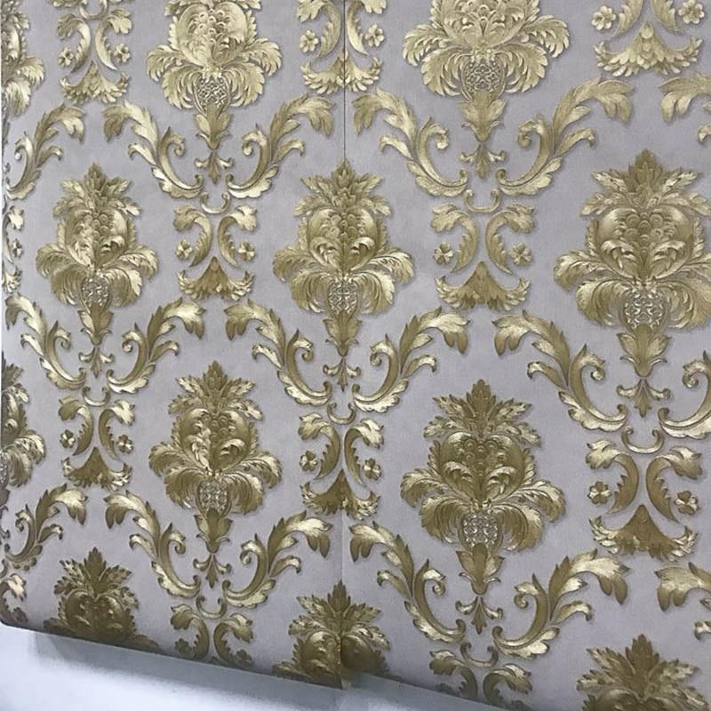 Uberlegen Braun Gold Gelb Strukturierte Luxus Damast Tapete Damast Gestreiften  Geprägte Vinyl Wand Papier Wohnkultur