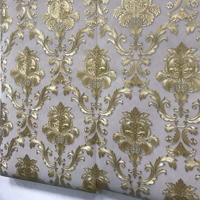 Braun Gold Gelb Strukturierte Luxus Damast Tapete Damast Gestreiften  Geprägte Vinyl Wand Papier Wohnkultur