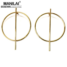MANILAI Circle Alloy Strip Big Earrings For Women Accessories Punk Jewelry Geometric Earrings Golden Silver Colors