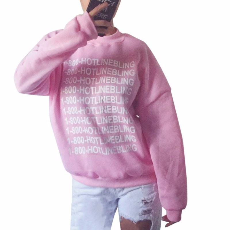 Autumn Fashion Women Pink Fleeced Thick Warm Hoodies Pullovers 800 Hotline Bling Winter Sweatshirts New 6