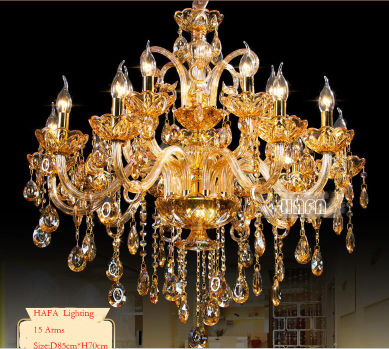 ახალი უფასო ტრანსპორტი Big Lustres Chandelier 100% K9 Crystal Luxury Large Large Decoration Amber / gold / Cognic / Clear Chandelier კრისტალი