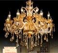 Novo frete grátis grandes lustres lustre 100% k9 de cristal luxo grande decoração para casa âmbar/ouro/cognic/clear lustre cristal
