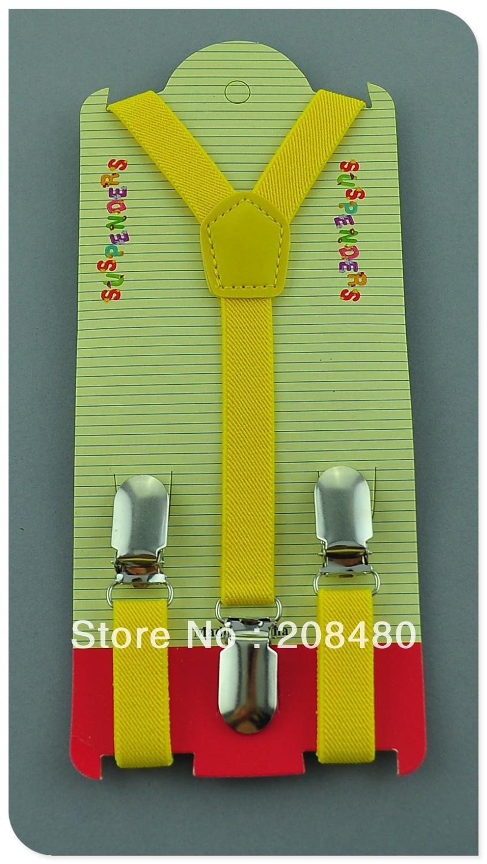 Free Shipping-1.5x65cm Candy yellow color Kids Suspenders Children/Boys/Girls Suspender Elastic Braces Slim Suspenders/gallus