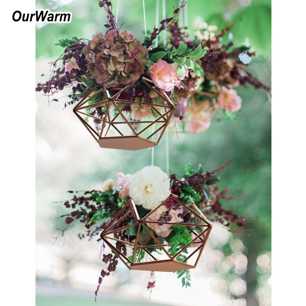 Us 6 65 50 Off Ourwarm Wedding Diy Hanging Flower Basket Wedding Decoration Table Centerpieces Gold Geometric Candle Holder Party Diy Decor In Party