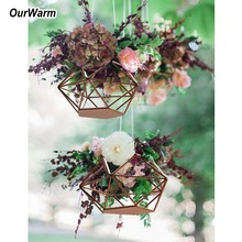 OurWarm Wedding DIY Hanging Flower Basket Decoration Table Centerpieces Gold Geometric Candle Holder Party Decor