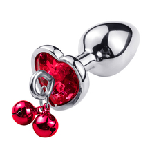 S/M/L Set Red Heart-shaped Stainless Steel Anal Plug Butt