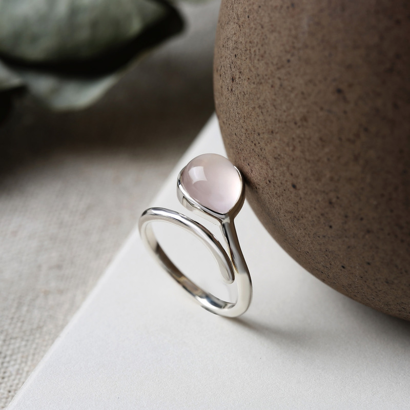 Authentic Silver 925 Ring Natural Gemstone Water Drop Shaped Rings For Women Open Type Elegant Fine Jewelry Anillos