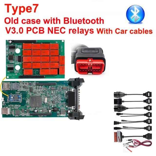 CDP TCS multidiag pro+ Bluetooth USB,00 keygen V3.0 реле NEC obd2 сканер автомобилей грузовиков OBDII диагностический инструмент - Цвет: Type7 V3.0 add cable