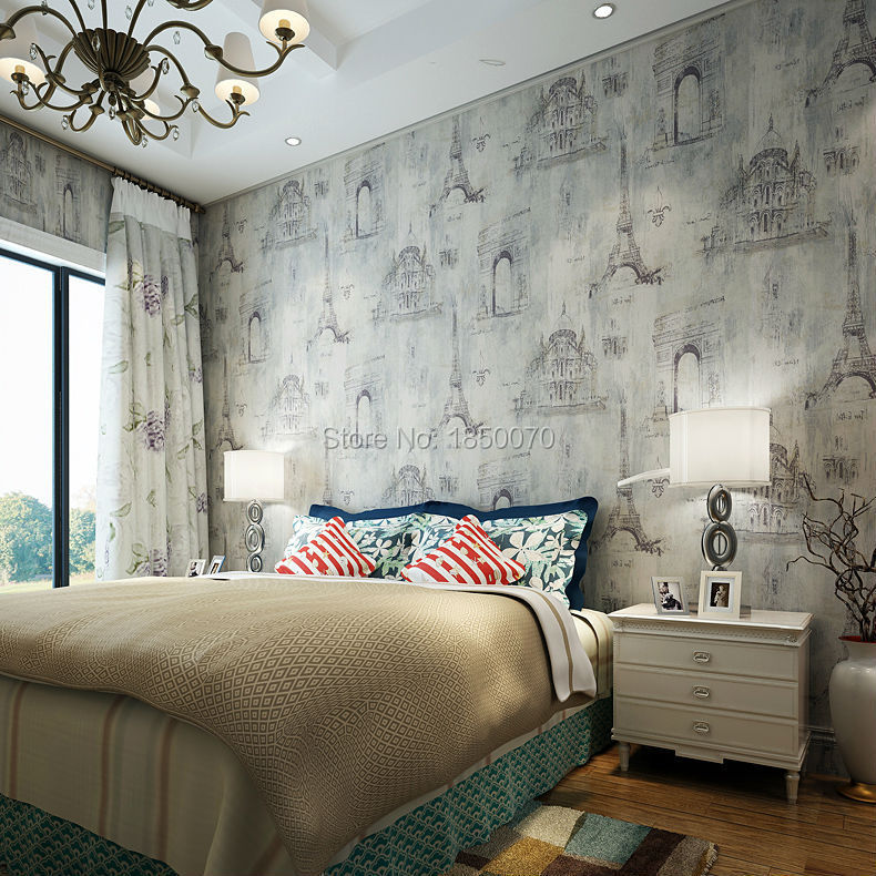 US $42.32 |French style Eiffel tower wallpaper pattern wallpaper vintage  wallpaper for bedroom living walls-in Wallpapers from Home Improvement on  ...
