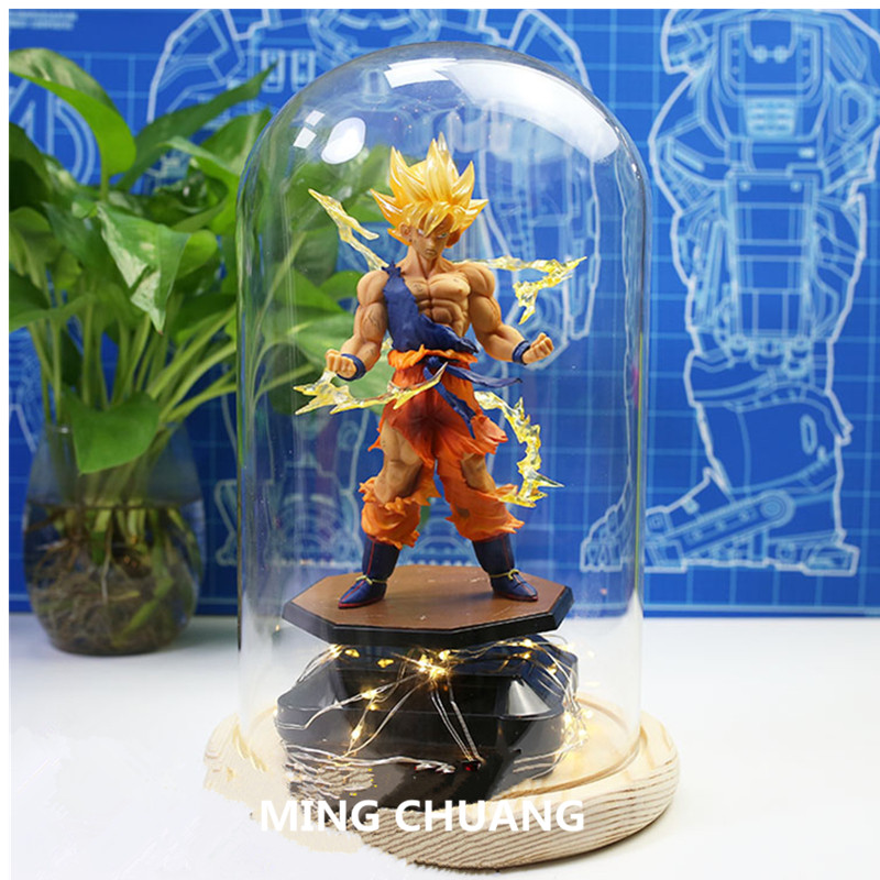 Dragon Ball Z Super Saiyan Son Goku With LED Light Kakarotto Tianxia DBZ Christmas present PVC Action Figure Toy BOX D788