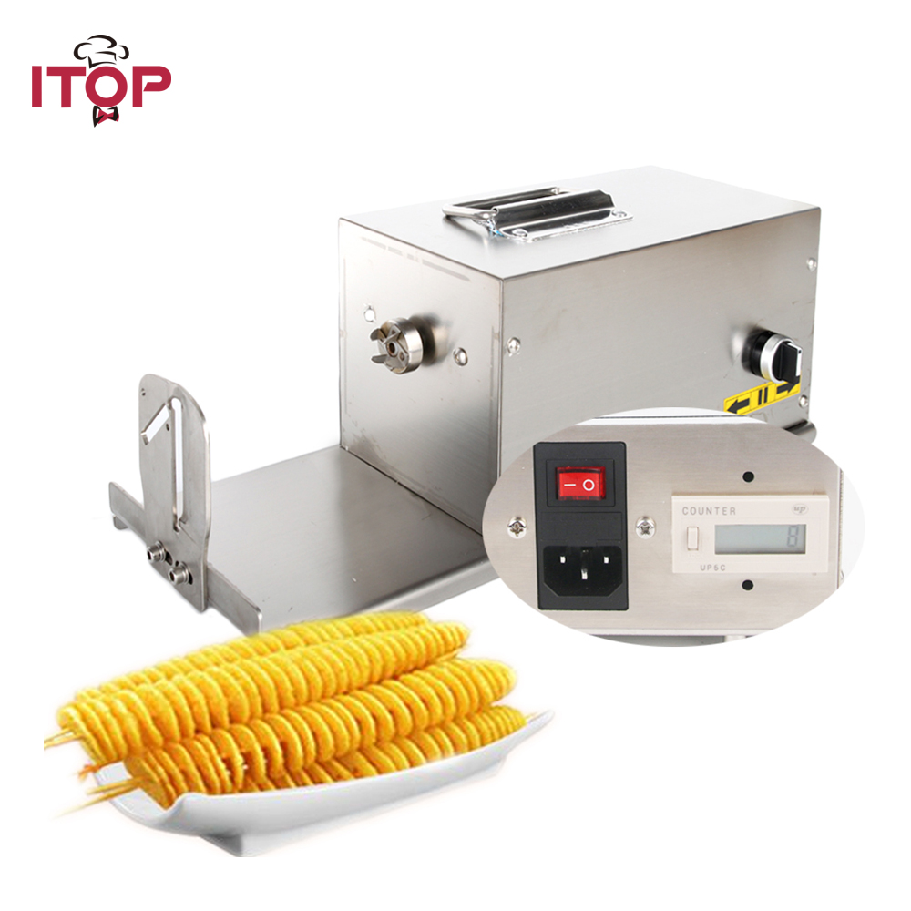 ITOP Commercial Twisted Potato Slicer Electric Spiral Carrot Cutter Multifunctional Vegetable Cutting Machine 110V 220V beijamei electric vegetable cutting machine potatoes carrot cutter and shredder commercial vegetable slicer slicing machine