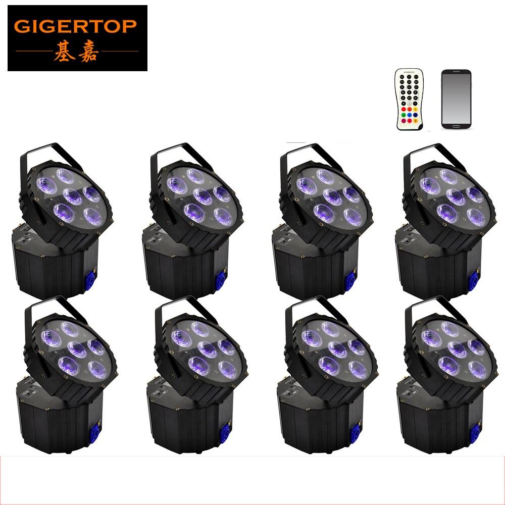 Freeshipping 8 unit Clublights LED Par Light 6 * 18W Wireless DMX Weddingup Lighting APP Control Dance Light Nastavitelný směr