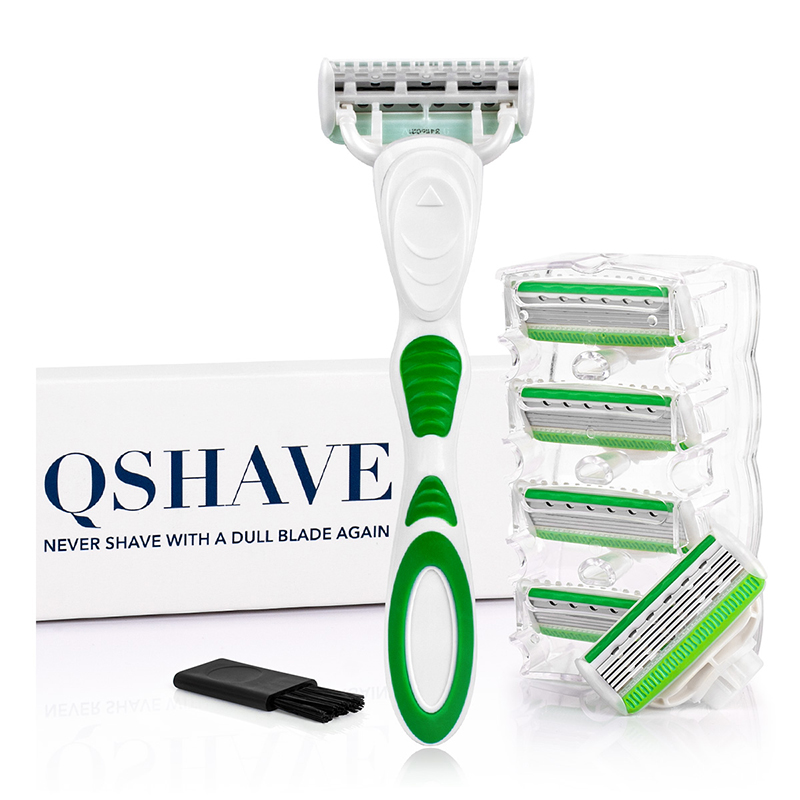 QShave Green Series 5 Layer USA Blade Women Lady Girl Bikini Leg Hair Removal Razor With 6 Pieces X5 Blade Valentine's Day Gift