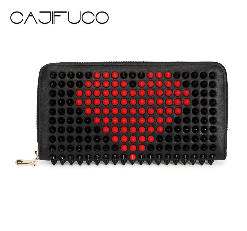 CAJIFUCO Japan Korean Long Zipper Wallet Genuine Leather Rivet Credit Card Holder Coin Purse Studded Phone Wallet Clutch made in japan leather coin case purse pouch wallet 1312 navy