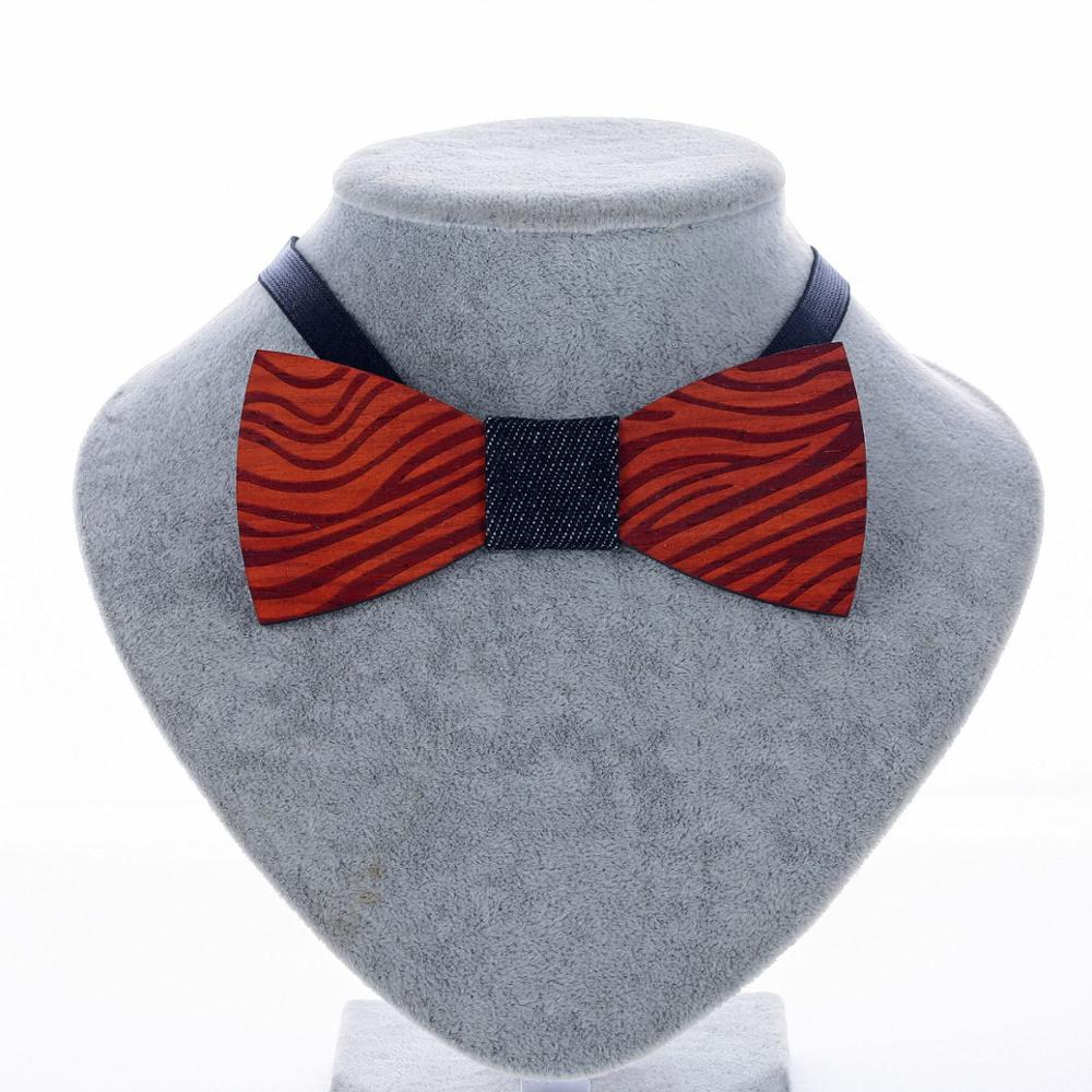 YISHLINE New Wooden Bow Tie Men's Striped Bowtie Wood Hollow Carved Cut Out Floral Design Fashion Novelty Ties