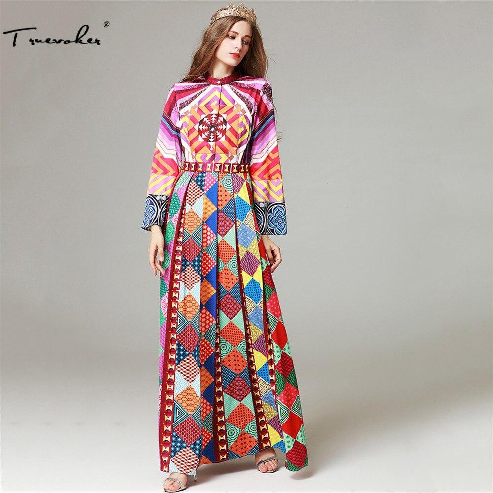 Aliexpress.com   Buy Truevoker Designer Autumn Long Dress Women High  Quality Full Sleeve Multicolor Ethnic Geometric Printed Draped Maxi Vestido  from ... 99969934fd87