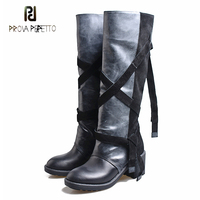 Prova Perfetto genuine leather mixed color knee high boots women round toe chunky high heel non slip motorcycle boots punk style