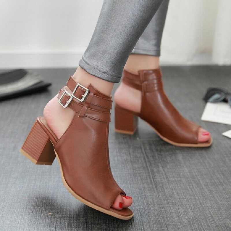 2016 New Summer Gladiator Sandals Shoes For Women Thick Heel Cork Open Toe Women Lady Ankle Boot Belt Buckle Women Shoes Pumps  hot selling denim blue ankle strap buckle high heel sandals cut out thick heel gladiator sandals for women summer dress shoes