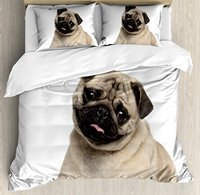 Pug Duvet Cover Set Nine Months old Pug Puppy Lying Around Cute Pet Funny Animal Domestication Print 4 Piece Bedding Set
