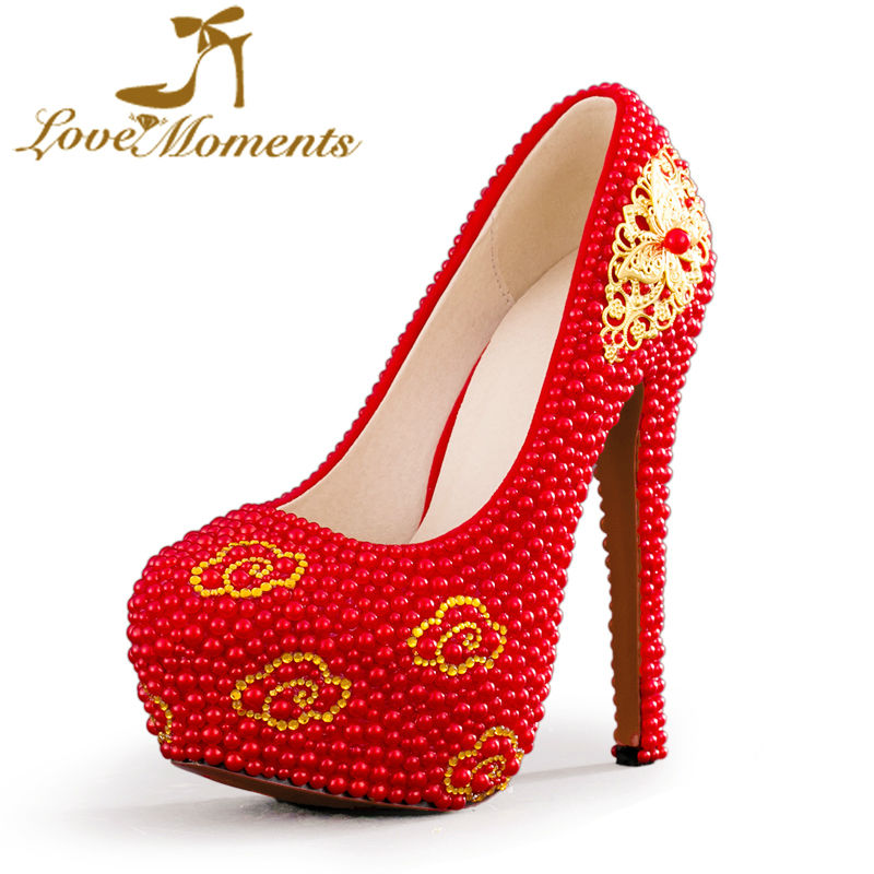 Love Moments Red pearl wedding shoes bride platform high heels Pumps evening wedding dress party prom shoes Custom Made Size 45 women s fashion gold lace dinner evening party pumps shoes plus sizes low high heels custom made bridal wedding shoes