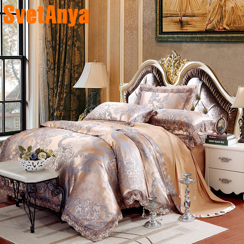Svetanya 6pc or 4pc Jacquard Bedding Sets Queen King Size Sheet Pillowcase Duvet Covet Set Artificial Silk and Cotton Lace