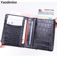 5769c2f70 Men Leather Crocodile Pattern Aluminum Wallet Pocket ID Card Holder RFID  Blocking Mini Wallet Automatic Credit. De cuero de los hombres ...
