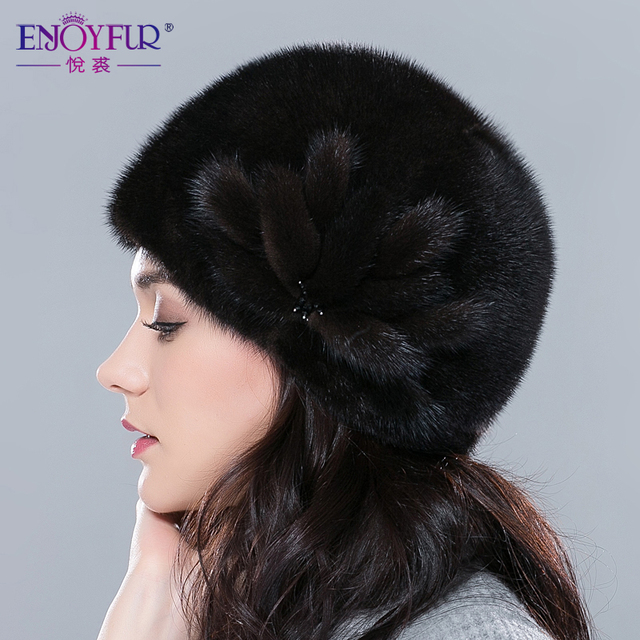 Cheap Fur hat for winter for women real mink fur cap with flower  Russia luxury female fur hats good quality hot sale style