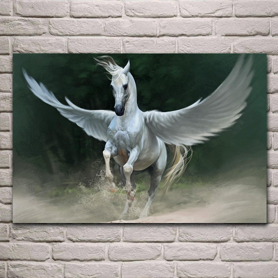 White and Green Fighting Pegasus Fantasy Wall Picture Black Framed