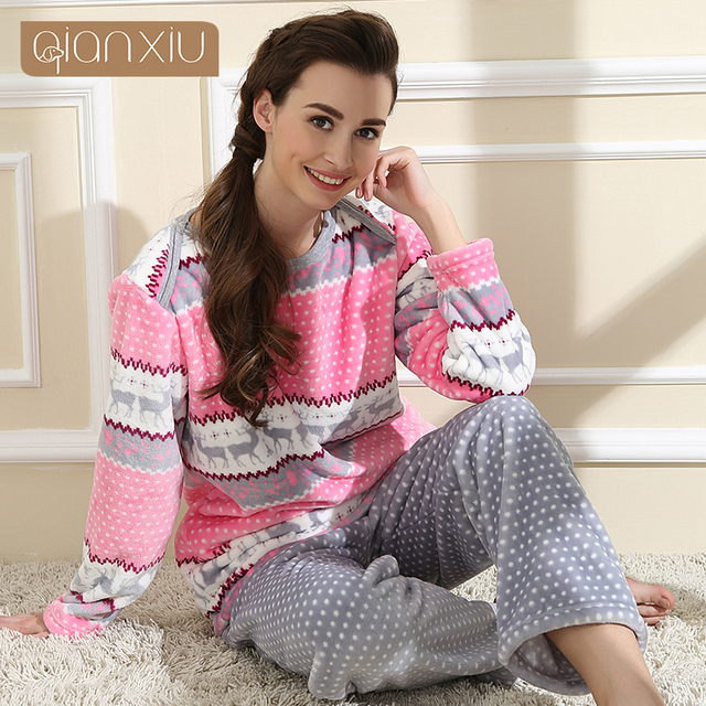 eb871cbf58 Qianxiu Brand Pajamas Winter Women Homewear Flannel Thicken Soft Pajama Set