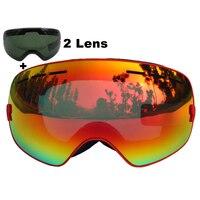 LOCLE Brand Ski Goggles Double Lens UV400 Anti Fog Large Spherical Skiing Glasses Masks Snowboard Goggles
