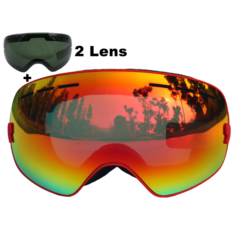 Brand Ski Goggles Double Lens UV400 Anti fog Large Spherical Skiing Glasses Masks Snowboard Goggles Black