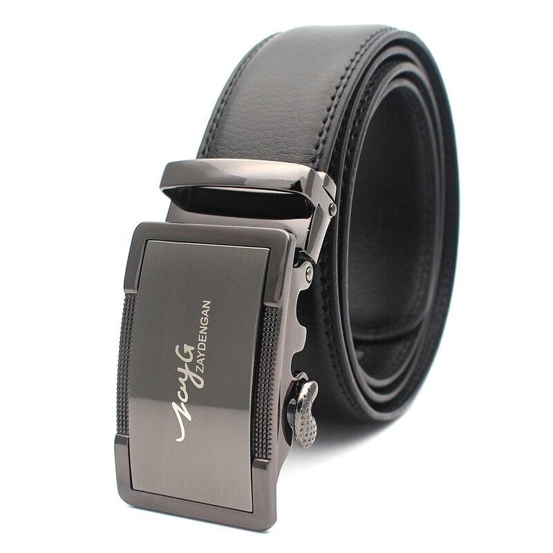 ZAYG Famous Brand Men Belt Automatic Buckle Belts for Men s Black Genuine Leather Belts Male