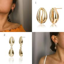 1PCS Shell Shape Earrings Fashion Bohemian Metal Geometric Hollow For Women Jewelry Simple Large Pendant Earring