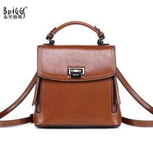 BRIGGS vintage women backpack genuine leather school bag for girls teenagers multifunctional travel backpack ladies shoulder bag