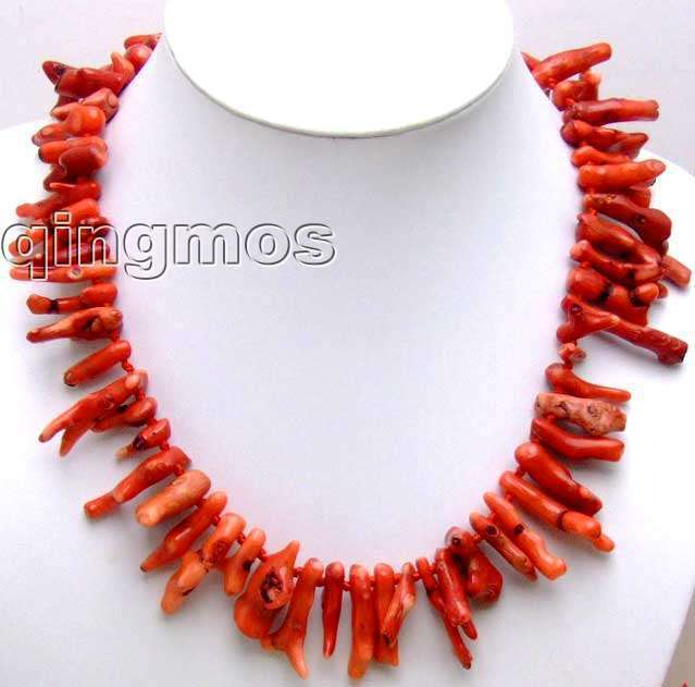 "SALE Beautiful! Big 6*30mm GENUINE natural Red Branch shape Coral 20"" Necklace-nec5532 wholesale/retail Free shipping"