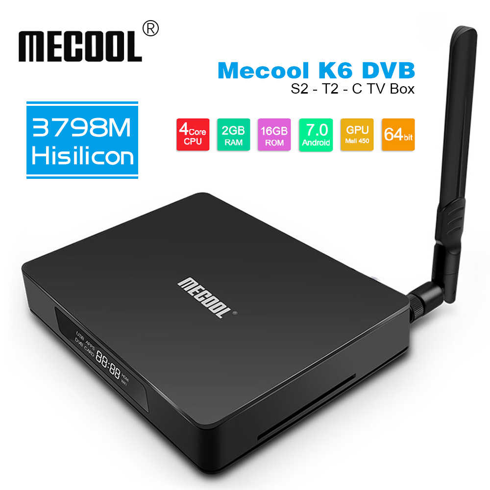 MECOOL K6 DVB S2-T2-C Smart TV Box z systemem Android 7.0 HiSilicon HI3798M Quad core Set-Top Box 2GB + 16GB 2.4G + 5G WiFi BT4.1 procesor graficzny Mali-450