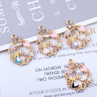 MRHUANG 10pcs/lot Love Alice Lace Flower Enamel Charms fit necklaces bracelet DIY Fashion Jewelry Accessories
