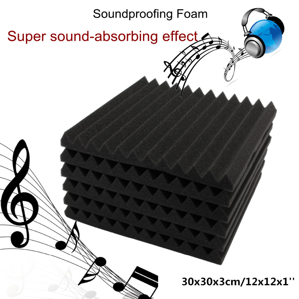 1 PCS 30*30*3 Cm Soundproof Acoustic Foam Black Sponge Foam Sound-absorbing Treatment
