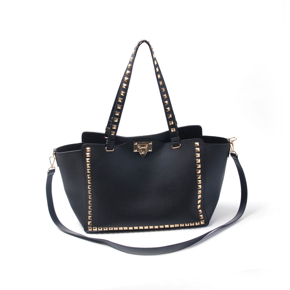 new design guitar strap handbag women tote bag shoulder bag with rivets DOM781 fashion women s tote bag with print and rivets design