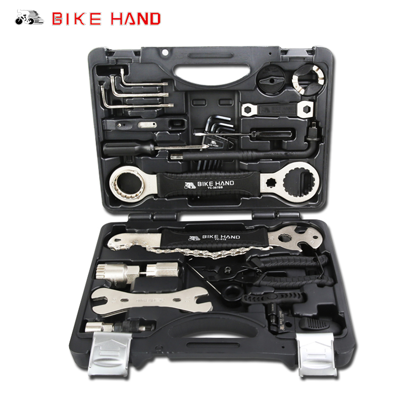 лучшая цена BIKEHAND Bicycle Repair Tools Kit 18 in 1 Box Set Multifunction MTB Bike Repair Tools Spoke Wrench Kit Hex Screwdriver Bike Tool