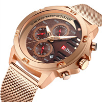 Biden brand wristwatches quartz mens business watches rose gold black stainless steel Mesh belt man Multifunction waterproof