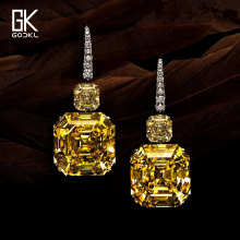 GODKI Fashion Luxury Yellow Square Cubic Zircon Dangle Earring For Women Wedding Crystal CZ American Dubai Silver Bridal Earring