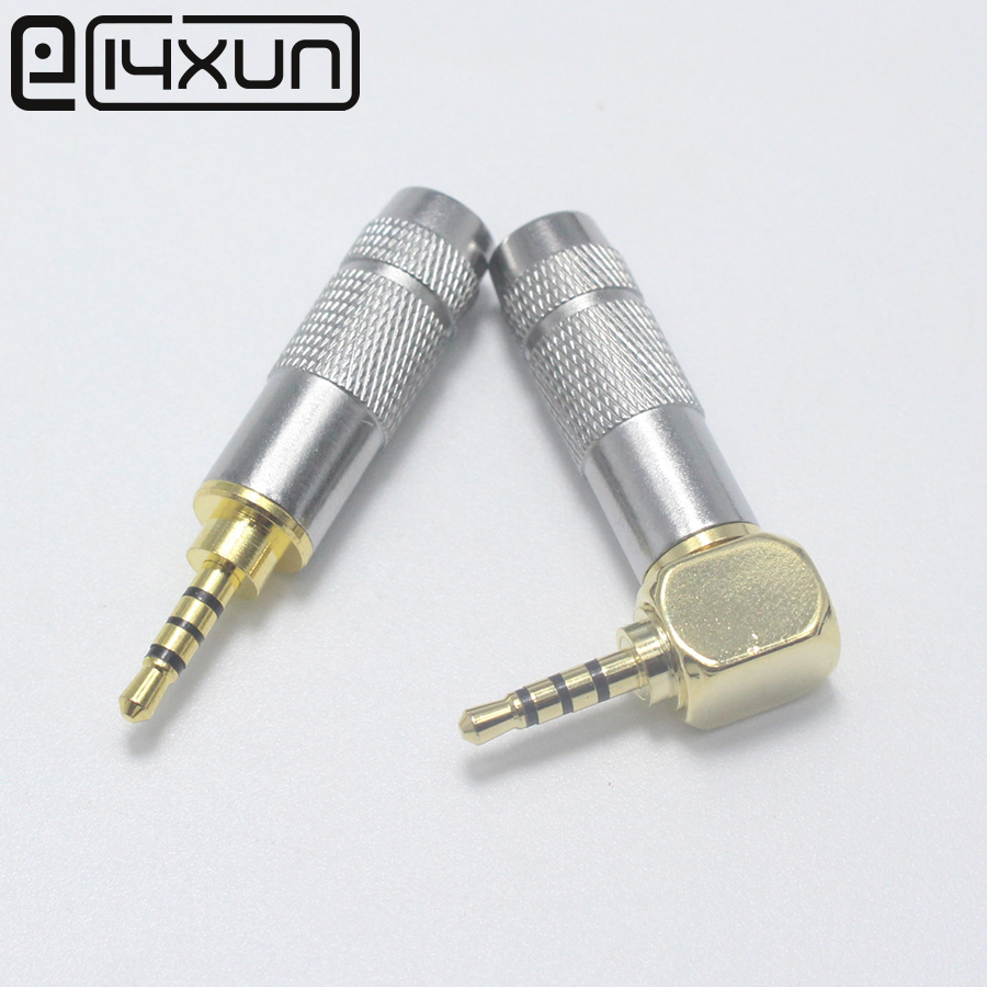 EClyxun 1Pcs New 2.5mm 4Pole Male Headphone Jack Right Angle 90 Degree/180 Degree Plug  DIY Solder Plug Mini Connector