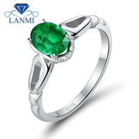 Engagement Ring Design Oval 5x7mm Natural Emerald 18K White Gold Promise Ring WU260
