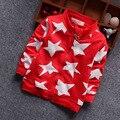 Новый Бренд Моды детские пятиконечная Звезда Движение Молния Рубашка Весна Детей И Пиджаки Дети Остыть Пальто Мальчик одежда