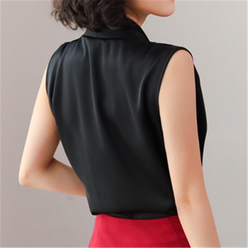 Women Shirts Silk Tank Blouse Women Elegant Office Lady White Shirts For Woman Plus Size Tops Korean Ladies Tank Tops Solid Tops