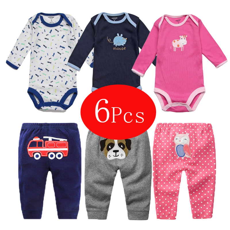 6Pcs Baby Girl Clothes Spring Baby Boy Clothing Set 2018 Kids Costume Newborn Clothes Roupas Bebe Infant Baby Rompers+Pants