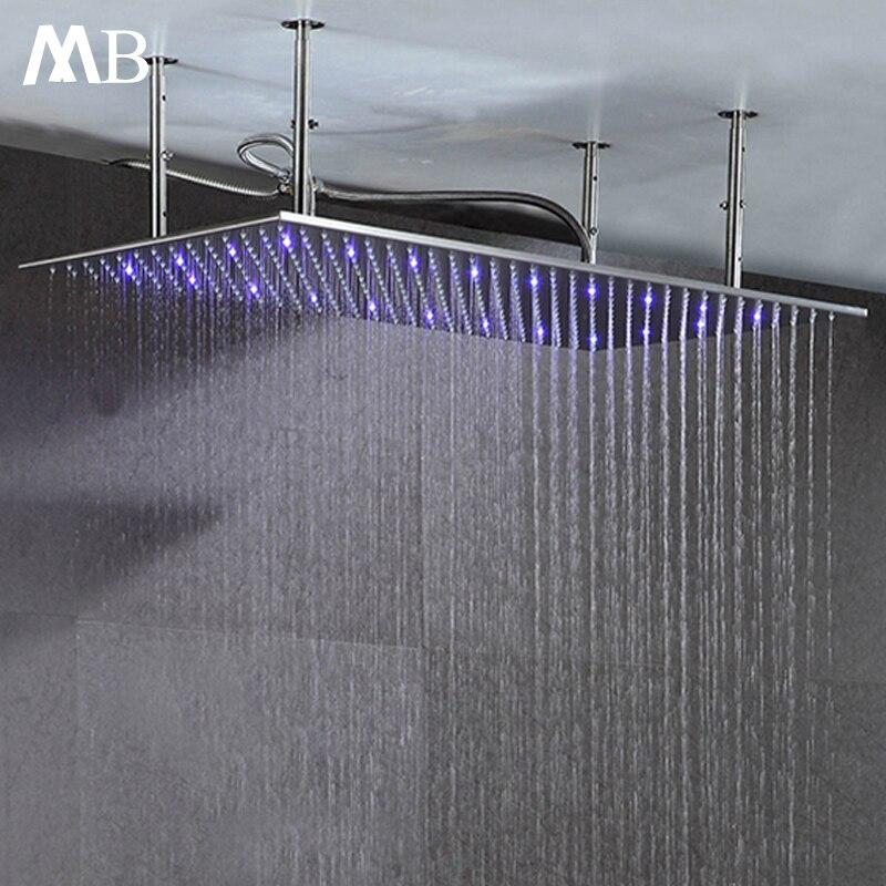 Матовый осадков насадки для душа 304 SUS 500*1000 мм воды Мощность светодио дный свет Контроль температуры светодио дный 3 цвета Showerhead Ванная комна...