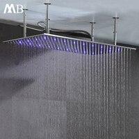 Матовый осадков насадки для душа 304 SUS 500*1000 мм воды Мощность светодио дный свет Контроль температуры светодио дный 3 цвета Showerhead Ванная комна