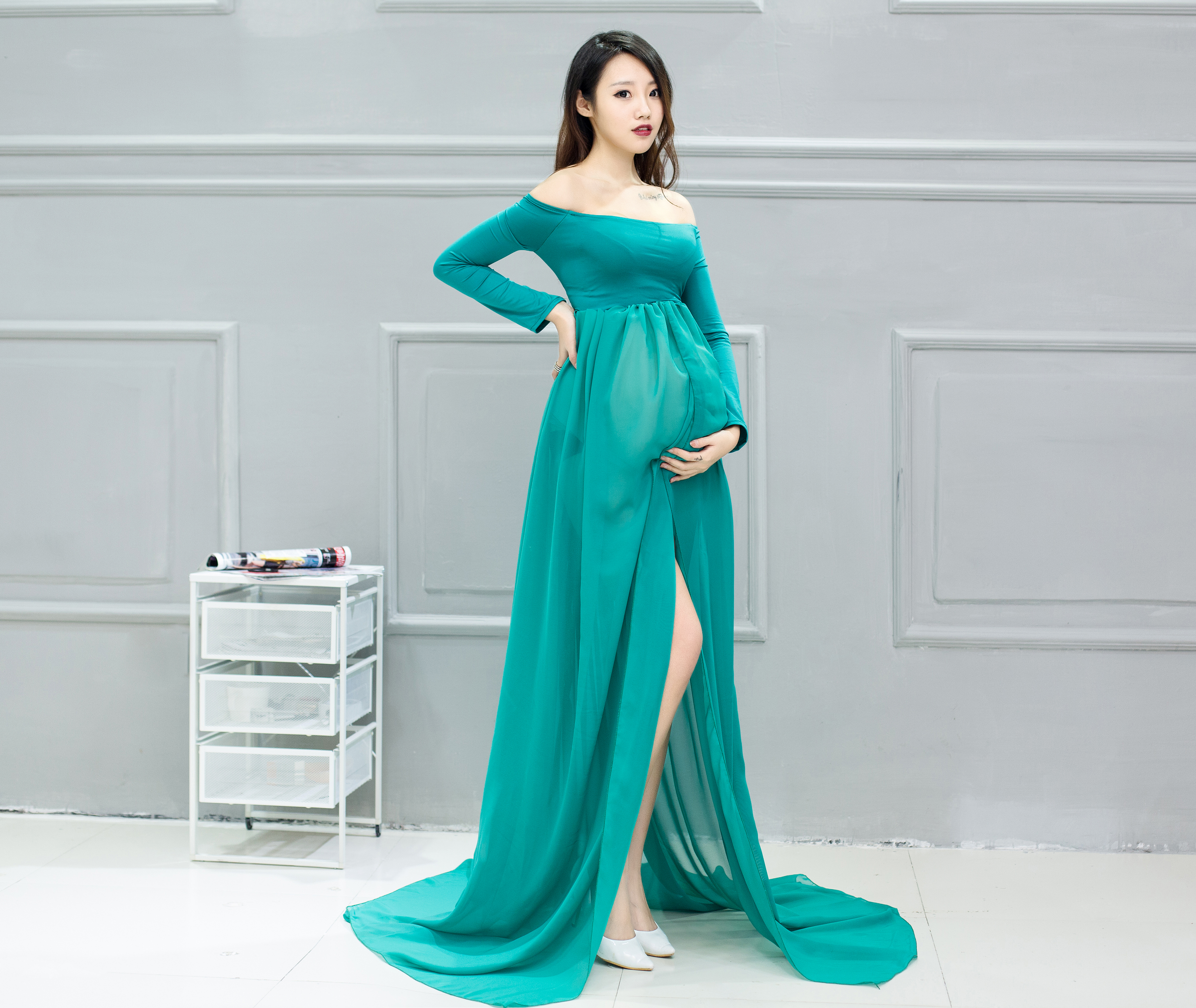 Wisstt Maternity Dress for Photo Shoot Long Sleeve Maternity Gown ...